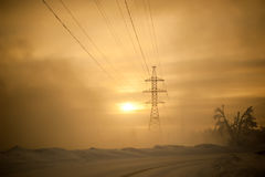Hight voltage power transmission tower stock photo
