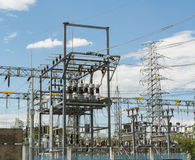 Hight voltage. Substation with switch and disconnector Stock Images