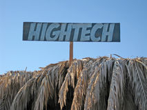 Hightech. A sign with hightech text stock image