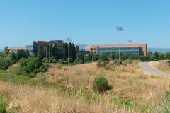 Hightech- Büros und Park Stockfotografie