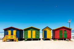 Hightech beach huts. Colorful beach huts with hightech solar panel at Muizenberg near Cape Town, South Africa Royalty Free Stock Images