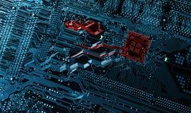 Hightech- Computerteile und Mikrochips Stockfoto