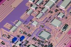 Hightech- Leiterplatteabschluß oben, Makro Konzept der Informationstechnologie Stockbilder