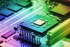 Hightech- Leiterplatteabschluß oben, Makro Konzept der Informationstechnologie Lizenzfreie Stockfotos