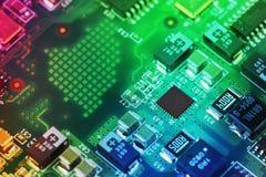 Hightech- Leiterplatteabschluß oben, Makro Konzept der Informationstechnologie Lizenzfreies Stockbild