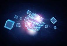 Hightech- Würfelzahl Gemischte Medien Lizenzfreies Stockbild