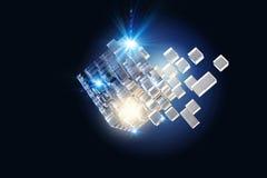 Hightech- Würfelzahl Gemischte Medien Stockfoto
