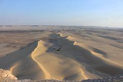 From the hights of the Faiyum desert. Landscape image of the Faiyum Desert from High ground. This image was taken shortly before sunset stock photos