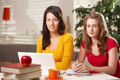 Hightschool students learning at home Stock Photos