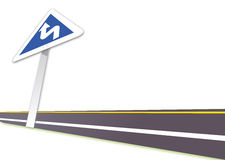 Highway. Illustration drawing of highway and blue guidepost Stock Images