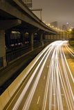 Highway. With many car at night Royalty Free Stock Photo