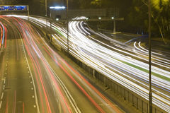 Highway. With many car at night Royalty Free Stock Image