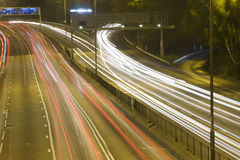 Highway. With many car at night Royalty Free Stock Images