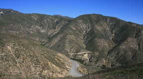 Highway 18 Panorama. View of highway 18 in the San Bernardino Mountains in California Royalty Free Stock Photo