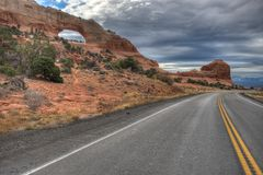 Highway 191 @ Wilson Arch, Utah Royalty Free Stock Photo