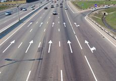 Highway 2. Arrow marks on a road Stock Photos