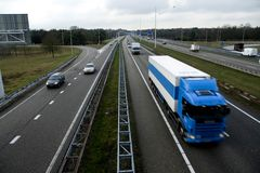 Highway. Traffic on highway with truck stock photo