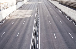 Highway. Dual carriageway with six lanes Stock Photography