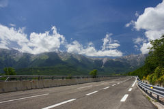 Highway. Empty Road. The mountain landscape. Blue Sky Royalty Free Stock Images