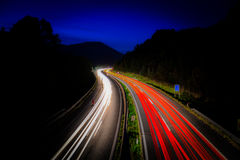 Highway. There's a highway from Austria at night with a long time shot Royalty Free Stock Image