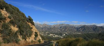 Highway 33 Panorama. Panoramic view of Highway 33 in the Los Padres National Forest, California Royalty Free Stock Photography