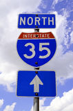 Highway 35 Road Sign. A highway 35 road sign in Texas Royalty Free Stock Photos