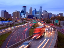 Highway 35W in Minneapolis. Highway 35 w in Minneapolis at night Royalty Free Stock Photography