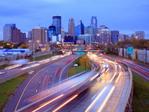 Highway 35W in Minneapolis. Highway 35 w in Minneapolis at night Stock Image