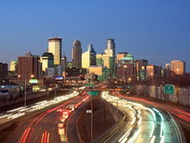 Highway 35w with traffic in Minneapolis Royalty Free Stock Photography
