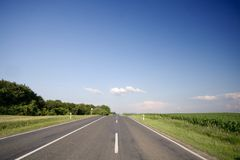 Highway. A highway with blue sky Stock Photos