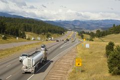 Highway 70. United States intersate hiway 70 heading toward the Continential Divide Royalty Free Stock Photo