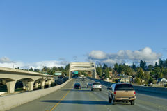 Highway 90. Eastbound highway 90 streching from Seattle to Mercer island Royalty Free Stock Photography