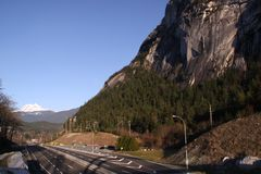 Highway 99 with Garibaldi Mountain Squamish Chief Stock Images