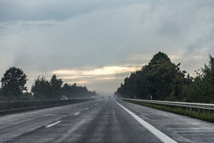 Highway A7 In Heavy Rain Seen Through Windshield Royalty Free Stock Image