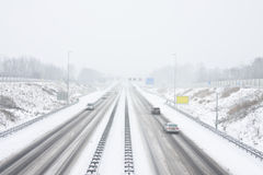 Highway A9 near Amsterdam Netherlands in snowstorm stock photo