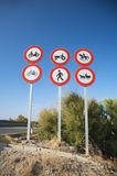 Highway access signals. Group of highway access prohibit signals in spain Royalty Free Stock Images