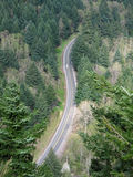 Highway Aerial View. Aerial view of a two lane rural highway with a car driving on it, Washington State stock photos