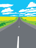 Highway aiming for a horizon poster. Highway aiming for a horizon in the field landscape with a blue sky and some clouds Royalty Free Stock Image