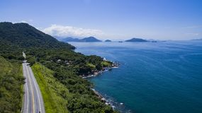 Highway along the sea, highway Angra dos Reis to Rio de Janeiro. Brazil South America royalty free stock photography