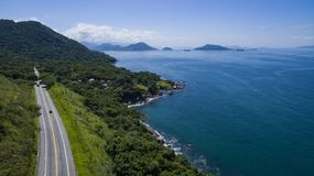 Highway along the sea, highway Angra dos Reis to Rio de Janeiro. Brazil South America royalty free stock image