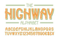 Highway alphabet with numbers and currency signs.  royalty free illustration