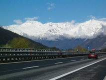 Highway in Alps Royalty Free Stock Image