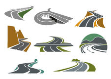 Highway And Road Icons For Transportation Design Royalty Free Stock Photos