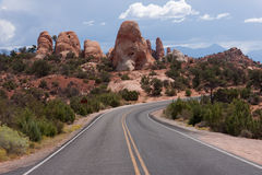 Highway in Arches National Park Stock Photo