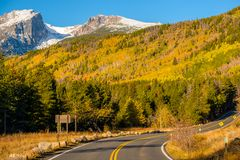 Highway at autumn in Colorado, USA. Royalty Free Stock Photo