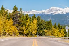 Highway at autumn in Colorado, USA. Royalty Free Stock Photography