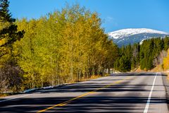 Highway at autumn in Colorado, USA. Highway at autumn sunny day in Colorado, USA stock images