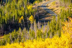 Highway at autumn in Colorado, USA. Royalty Free Stock Images