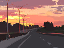 Highway on a background of pink sunset. Empty road Stock Photo