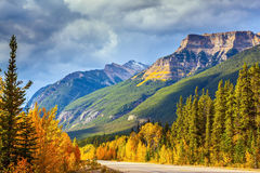 Highway in Banff. Canada, Alberta, Rocky Mountains. Highway in Banff National Park. Mountains and colorful autumn forest illuminated by the sunset Stock Photography